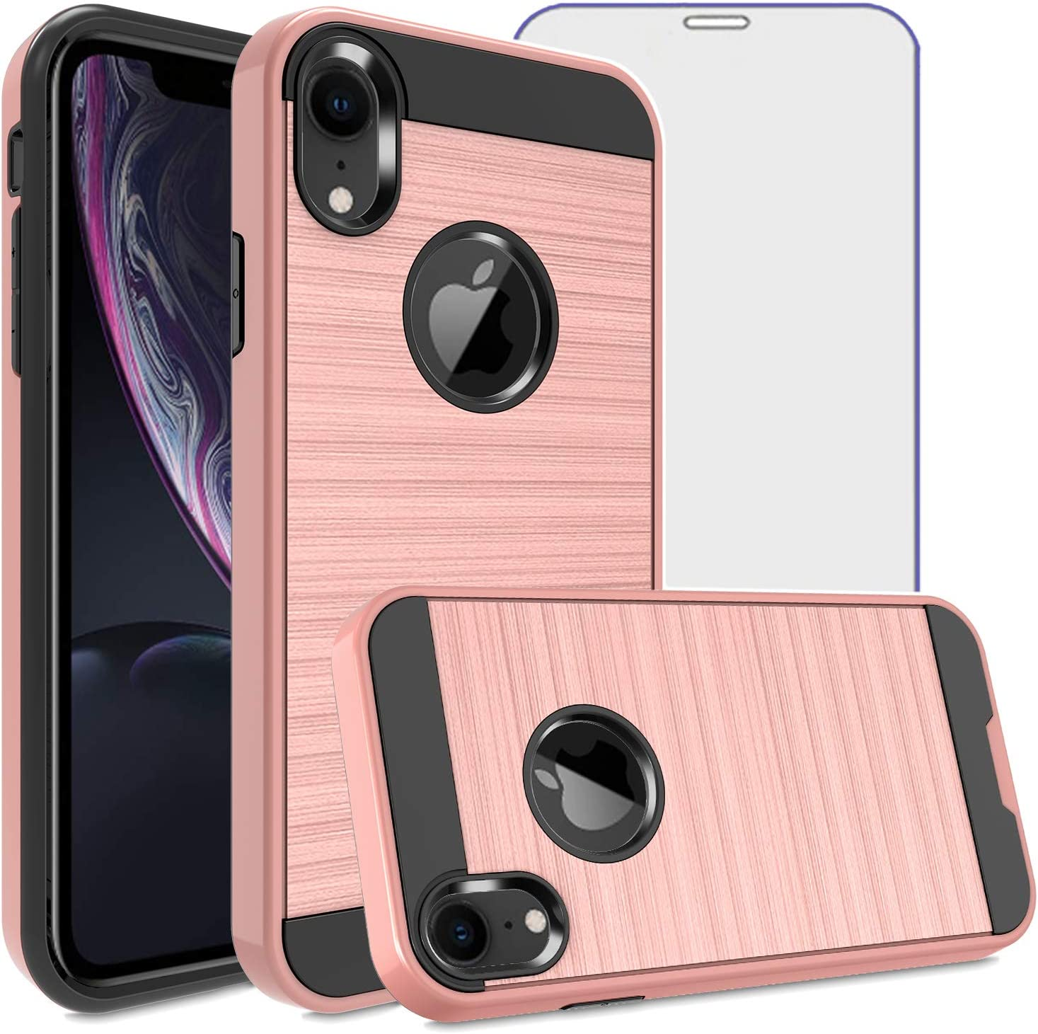 Asuwish Compatible with iPhone XR Case Tempered Glass Screen Protector Cover Grip Slim Hard Shockproof Protective Cell Phone Cases for iPhoneXR iPhone10R i Phonex 10XR 10R 10 R RX CR Women Rose Gold
