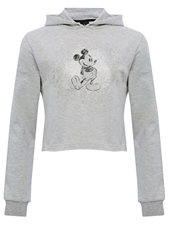 e52021fe8 Teen Girls Grey Long Sleeve Cropped Disney Mickey Mouse Glitter Print Front  Casual Hooded Sweater Grey 134/140: Amazon.co.uk: Clothing