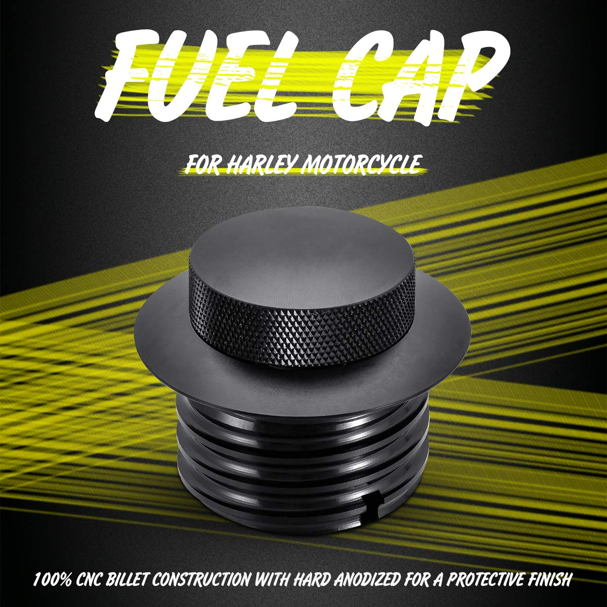 CNC Billet Aluminum Flush Pop Up Gas Cap Vented Fuel Tank Gas Cover Compatible with 1982-2018 Harley