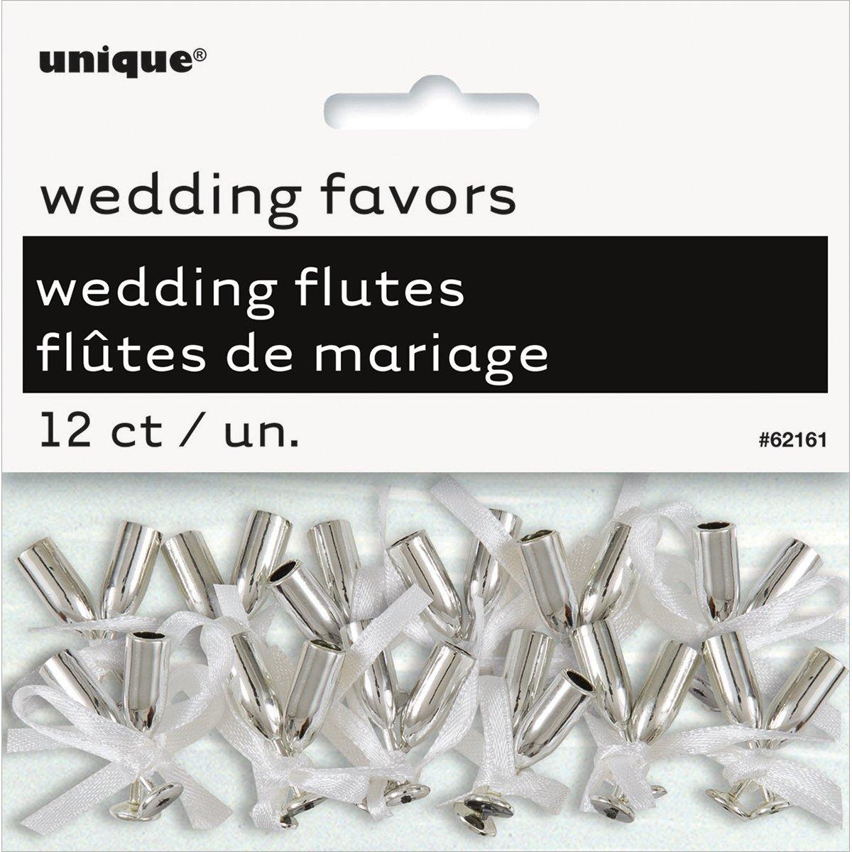 Amazon.com: Mini Silver Champagne Flute Wedding Favor Charms, 12ct ...