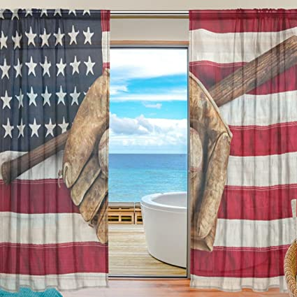 SEULIFE Window Sheer Curtain, American USA Flag Baseball Voile Curtain Drapes for Door Kitchen Living