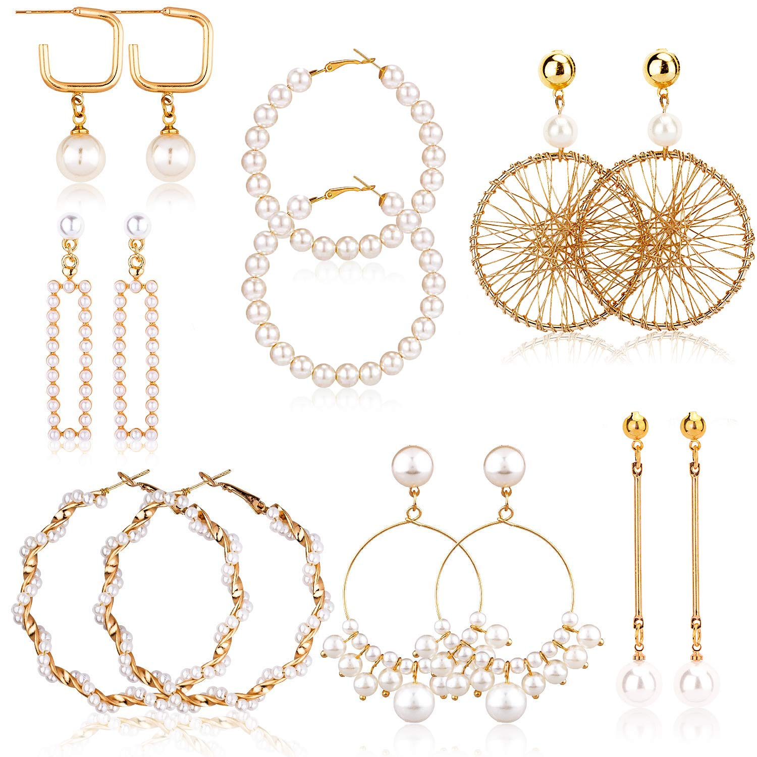 Gold Plated Rectangle Pearl Earrings