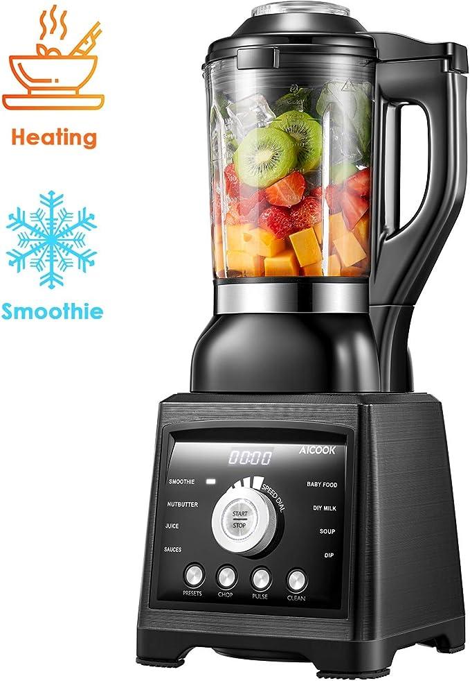 Standmixer Smoothie Maker, AICOOK Mixer mit Kochfunktion, 1.75L Glasbehälte mit Intelligente Heizung Element, 8 Vorprogramme Hochleistungsmixer 1400W [Energieklasse A+++]