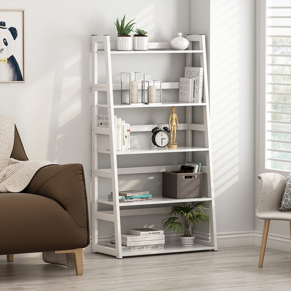 Tribesigns 5-Tier Bookshelf Modern Bookcase, Freestanding Leaning Ladder Shelf, Ample Storage Space for CD, Books, Home Decor (White) by Tribesigns (Image #3)