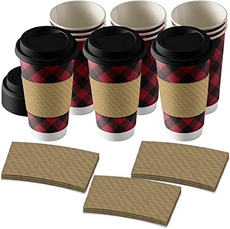 Amazon Com Disposable Coffee Or Hot Chocolate Cups Buffalo Plaid Buffalo Plaid 12 Ct With Blank Kraft Sleeves Kitchen Dining