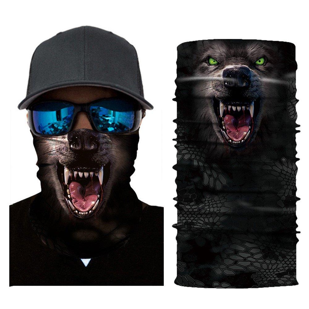 Glumes Face Mask Half Sun Dust Protection Vivid 3D Animal Tube Mask Seamless Durable Face Mask Bandana Skeleton Face Shield Motorcycle Fishing Hunting Cycling Halloween Party (E)