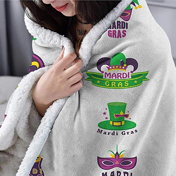 Amazon.com: Willsd Mardi Gras Sherpa Fleece Blanket Set of ...