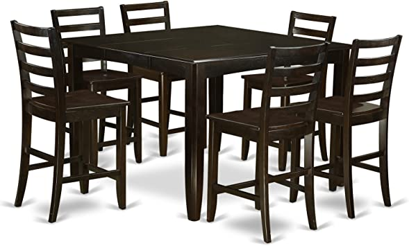 FAIR7-CAP-W 7 PC counter height set- Square Table plus 6 Kitchen counter  Chairs