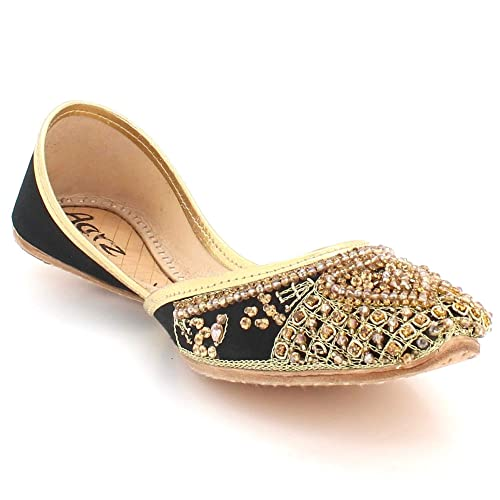 6b6a4020bf0e Women Ladies Diamante Traditional Ethnic Bridal Handmade Leather Flat  Khussa Jutti Mojari Indian Pumps Slip On