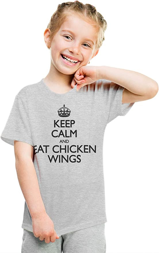 Keep Calm and Play Drums Kids Girls Short Sleeve T-Shirts Ruffles Shirt Tee for 2-6T