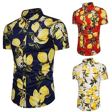 WINWINTOM Verano Casual Camisas De Hombre, Moda Ajustado Camisetas ...