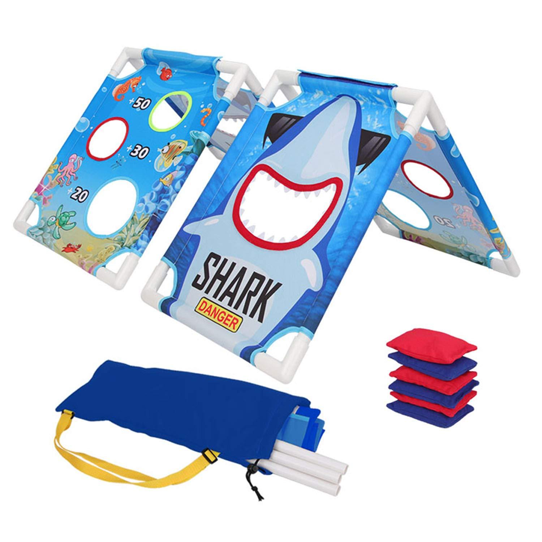 BTOOP ポータブルコーンホール トスゲーム アウトドア ビーンバッグ トスゲームセット ビーンバッグ6枚付き 旅行キャリーケース ファミリーサンドビーチ 芝生 庭ゲーム用 B07HRCZ41W Blue - Sharp Blue - Sharp