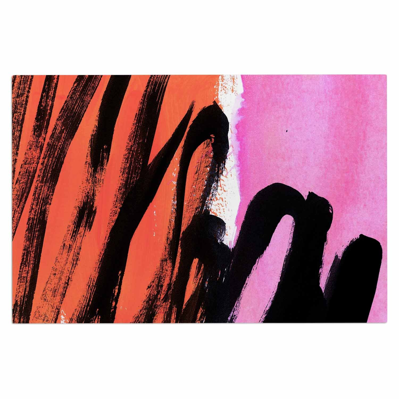 2 x 3 Floor Mat Kess InHouse Iris Lehnhardt Strokes On Sherbet Black Orange Abstract Decorative Door