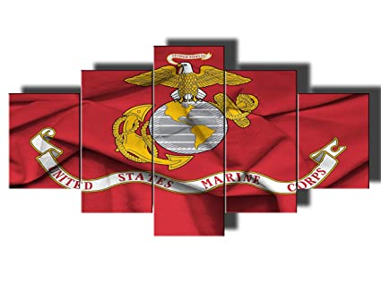 9803377e2e14 Framed American Flag of United States Marine Corps Wall Art for Living Room  5 Panel Canvas