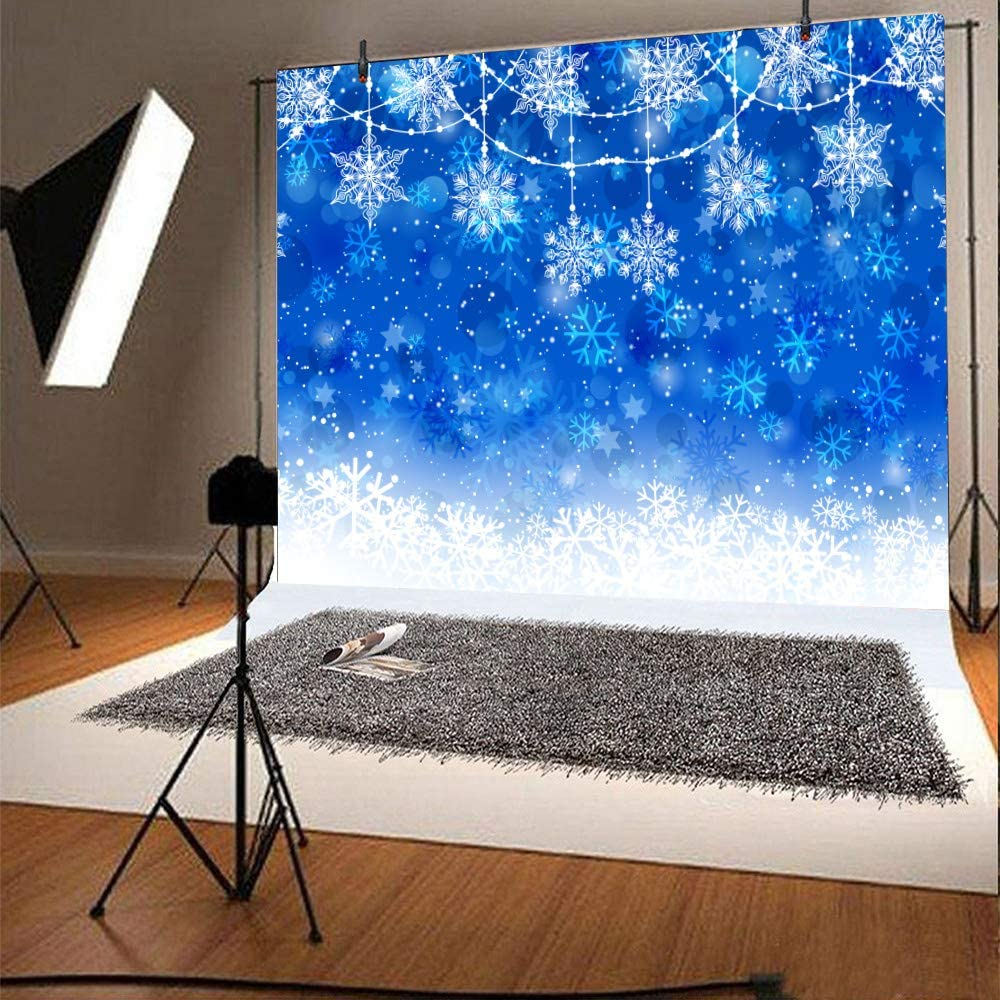 Snowflake Background FHZON 7x5ft Winter Ice Snow Flakes Backdrop Bokeh Background for Winter Theme Party Holiday Celebration Party Booth Prop BJLLFH174