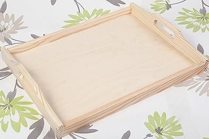 Bandeja para servir de madera sin pintar tamaño mediano bandeja de té 6 x 30 x