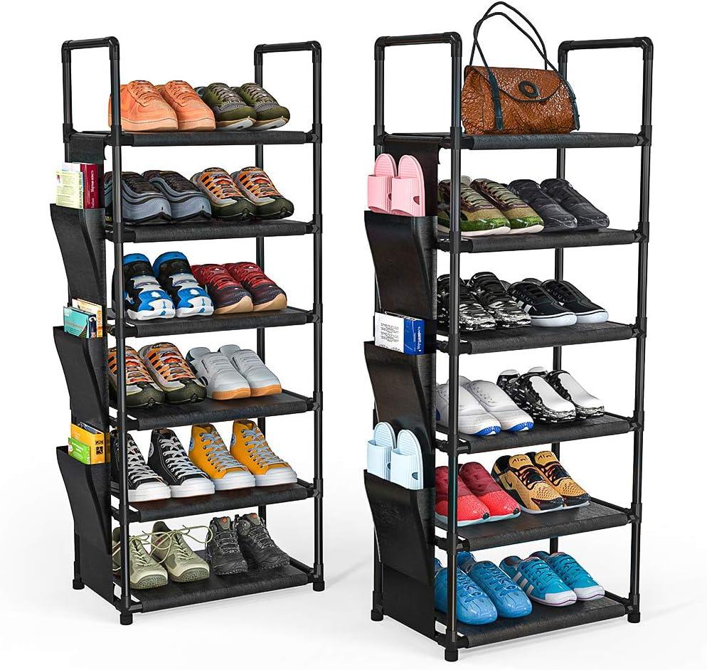 Amazon.com: ORDORA 6 Tier Narrow Shoe Rack Organizer, Muti-Combinations  Entryway Shoe Racks for Closets, Stackable Shoe Shelf, Free Standing Shoe  Rack, 6 Side Pockets, 24-30 Pairs, Waterproof Fabric: Home Improvement