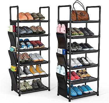 Amazon Com Ordora 6 Tier Narrow Shoe Rack Organizer Muti Combinations Entryway Shoe Racks For Closets Stackable Shoe Shelf Free Standing Shoe Rack 6 Side Pockets 24 30 Pairs Waterproof Fabric Home Improvement