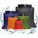 Waterproof Dry Bag Backpack – 6 Pack Gym Bag Dry Sacks Lightweight Storage Bags, Roll Top Sack Travel Duffel Bags Keeps Gear