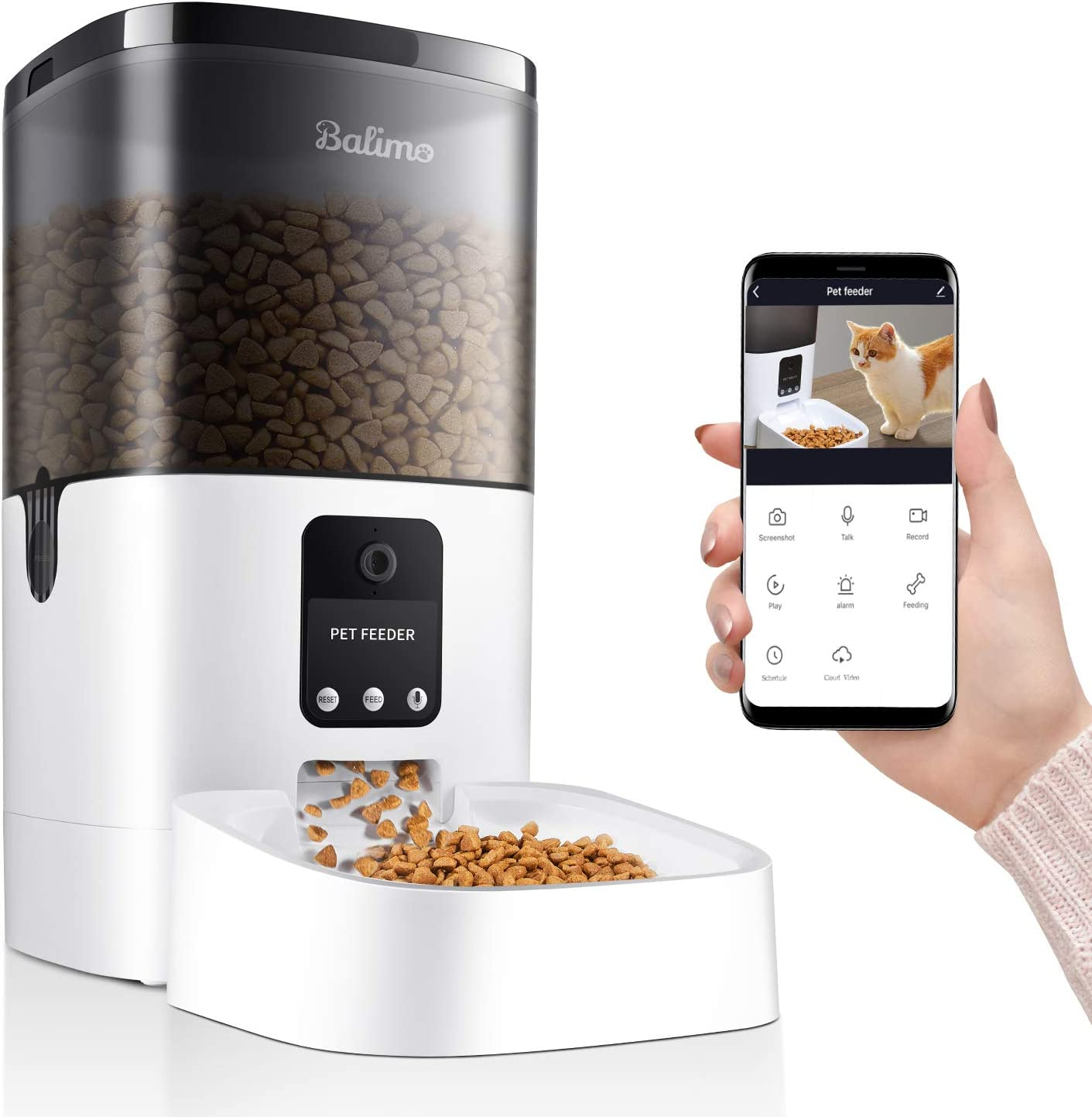 Balimo 6L Smart Pet Feeder for Dog and Cat, Automatic Feeder with 1080P HD Camera for Video Recording, Timer Programmable Feeding, APP Remotely Control, up to 4 Meals per Day, 2.4G Wi-Fi only