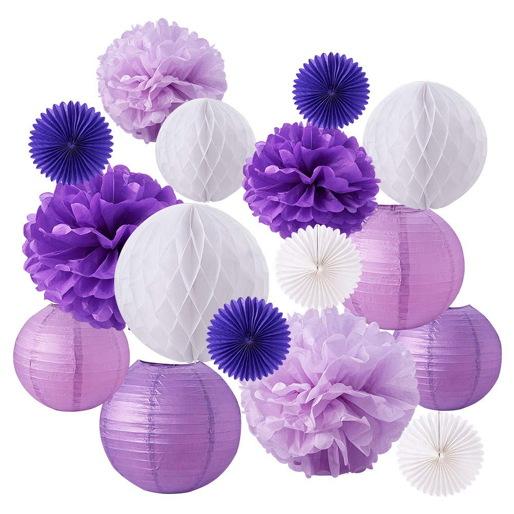BENECREAT 14 Pieces Purple Blue Theme Paper Pom Poms Paper Flowers Honeycomb Balls Tissue Fans - Perfect Wedding Decor, Birthday Celebration, Table Wall Decoration AJEW-BC0002-03