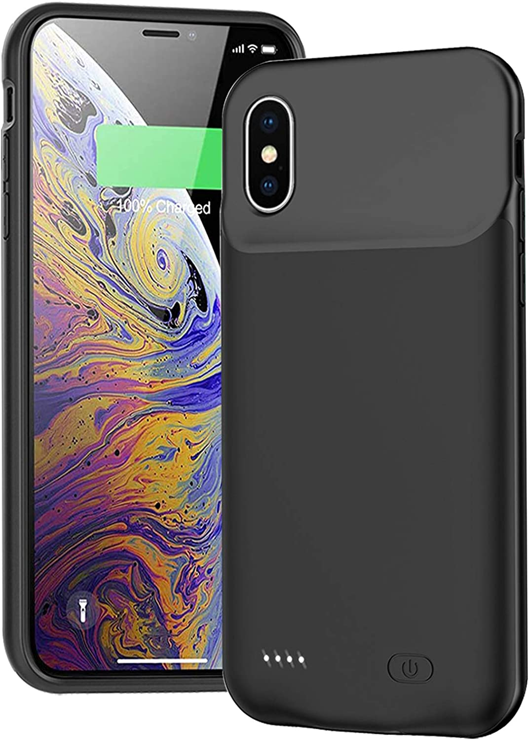 Battery Case for iPhone X/XS, 7000mAh Ultra-Slim Portable Charger Case Rechargeable Battery Pack Protective Backup Charging Case Cover for Apple iPhone X, iPhone Xs (5.8 Inch)-Black