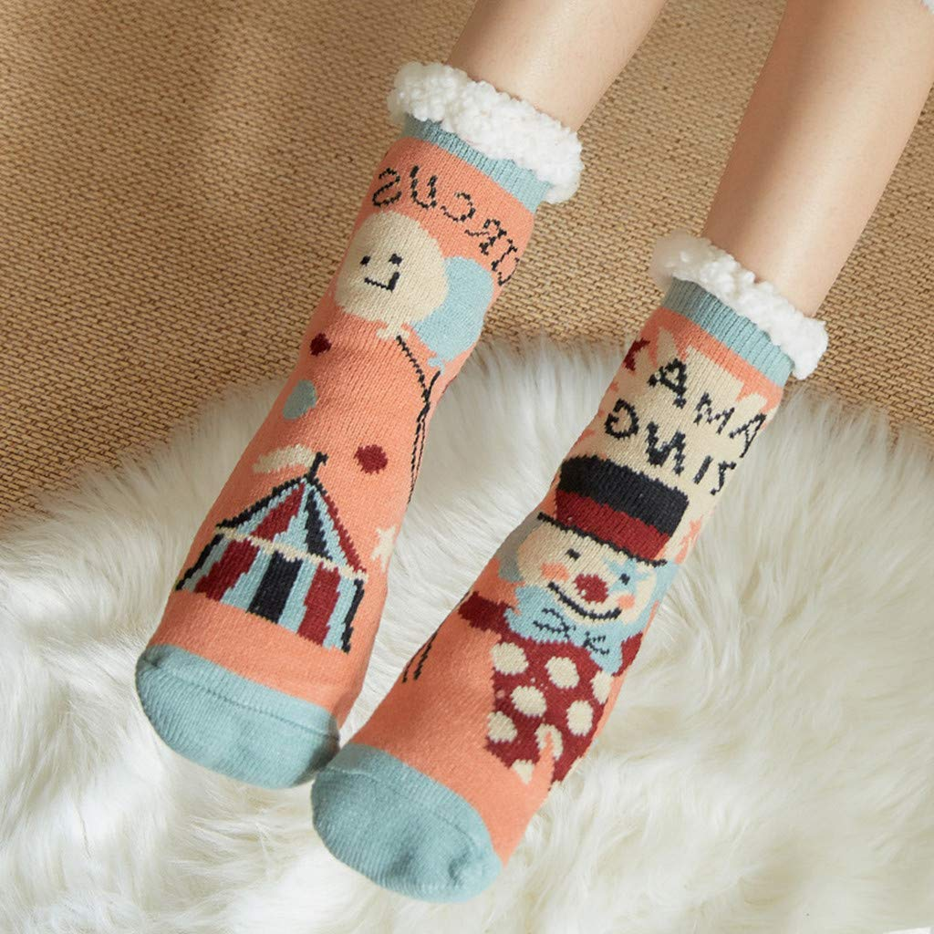 Womens Print Cartoon Snowman Sheep Warm Mid Tube Cute Socks