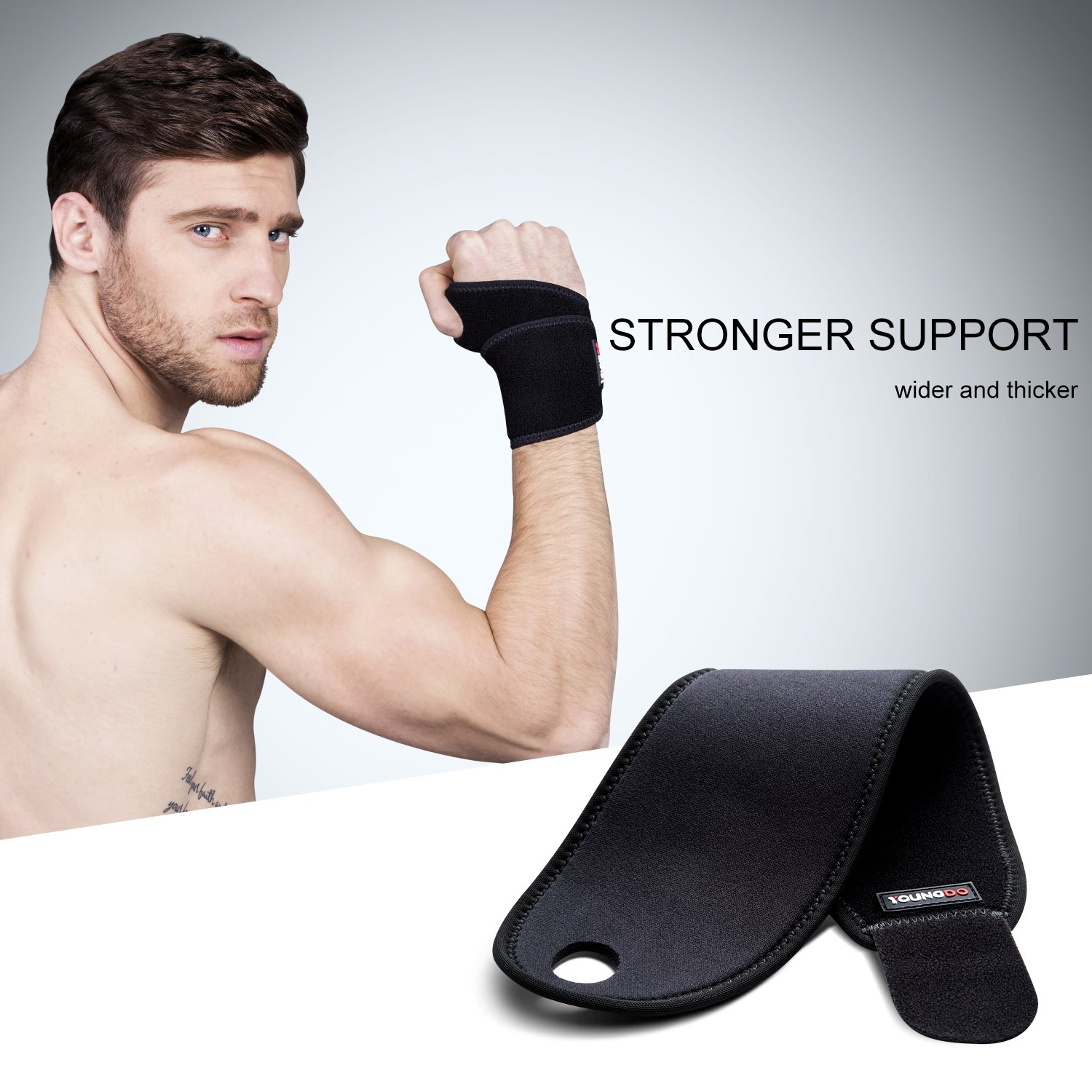 YOUNGDO Wrist Support Wrist Brace Adjustable Breathable Neoprene with Velcro for Men,Women and Children to Help Relieve Pain from Carpal Tunnel Syndrome Tendonitis and Wrist Pain-1 Pair Black