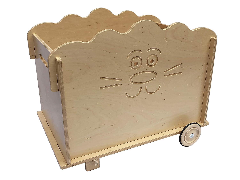Schaukelzoo Spielzeugkiste (AFFE, Frosch, Löwe) aus Holz mit Rädern: ökologisch, sozial hergestellt, Spielzeug/Truhe ab 3 Jahren (Löwe)