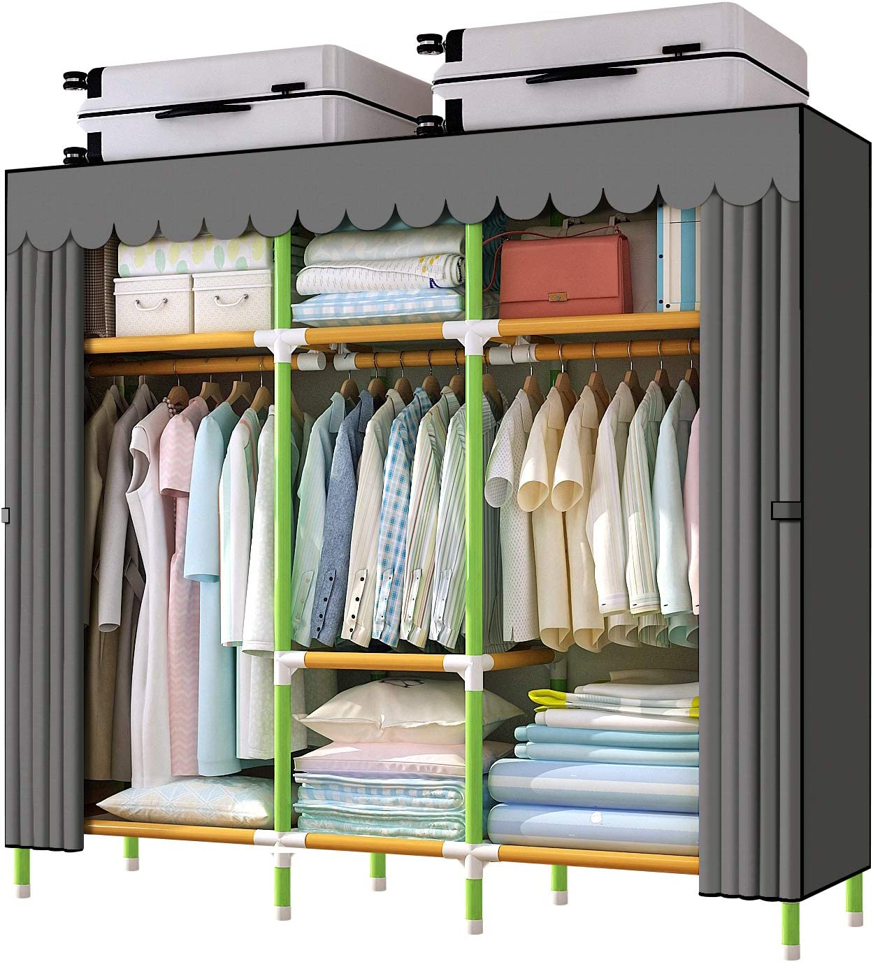 "YOUUD 68"" Wardrobe Storage Closet Colored Rod and Dark Grey Cover Portable Closet Stroage Organizer, Quick and Easy to Assemble, Sturdy Strong and Durable"