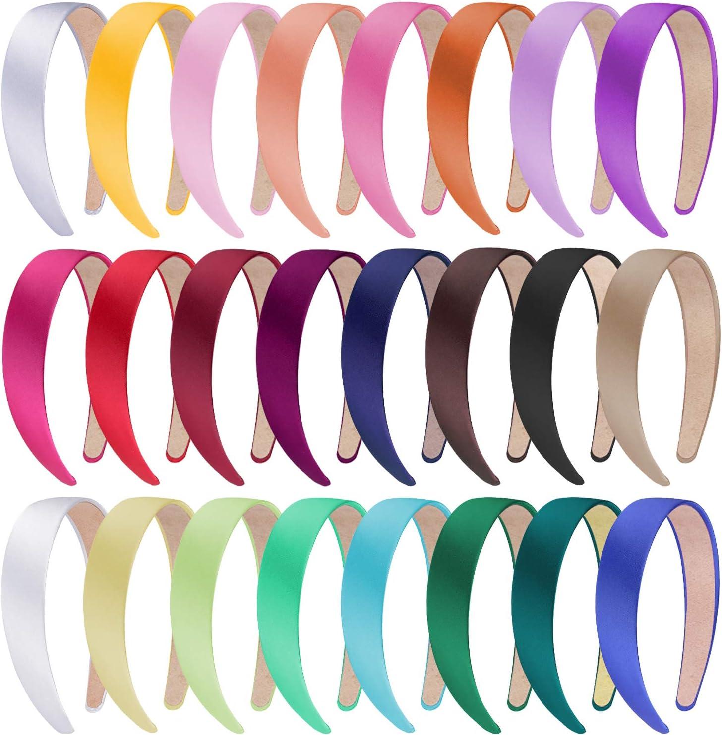 SIQUK 24 Piezas Diademas de Satén Mujer Diadema Turbante para Mujer Niñas, 24 Colores