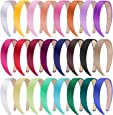 SIQUK 24 Pieces Satin Headbands 1 Inch Wide Headband Colorful Non-slip Headbands for Women and Girls, 24 Colors