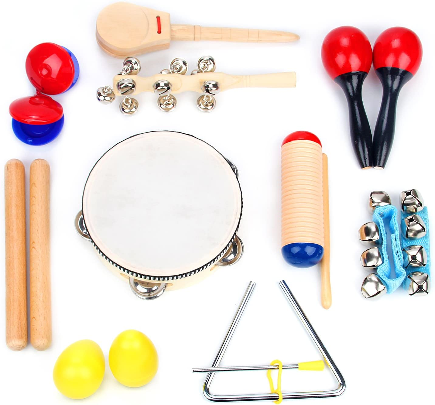 Boxiki kids Musical Instrument Set 18 PCS | Rhythm & Music Education Toys for Kids | Clave Sticks, Shakers, Tambourine, Wrist Bells & Maracas for Kids | Natural Toys with Carrying Case