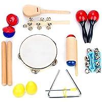Juego de Instrumentos Musicales de 16 Piezas | Clave Sticks, Triángulo, Tambor, Cascabeles & Maracas para Niños | Juguetes Musicales de Madera con Estuche para Transportar de Boxiki Kids