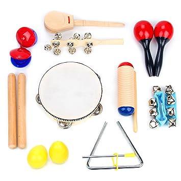 Juego de Instrumentos Musicales de 16 Piezas | Clave Sticks, Triángulo, Tambor, Cascabeles