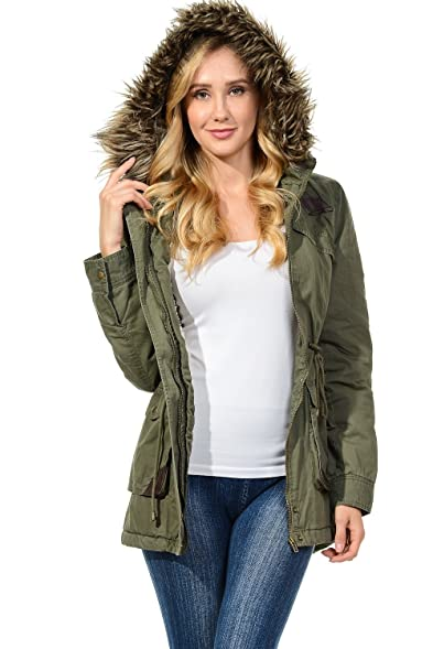 Auliné Collection Womens Faux Fur Hoodie Sherpa Lined Military ...