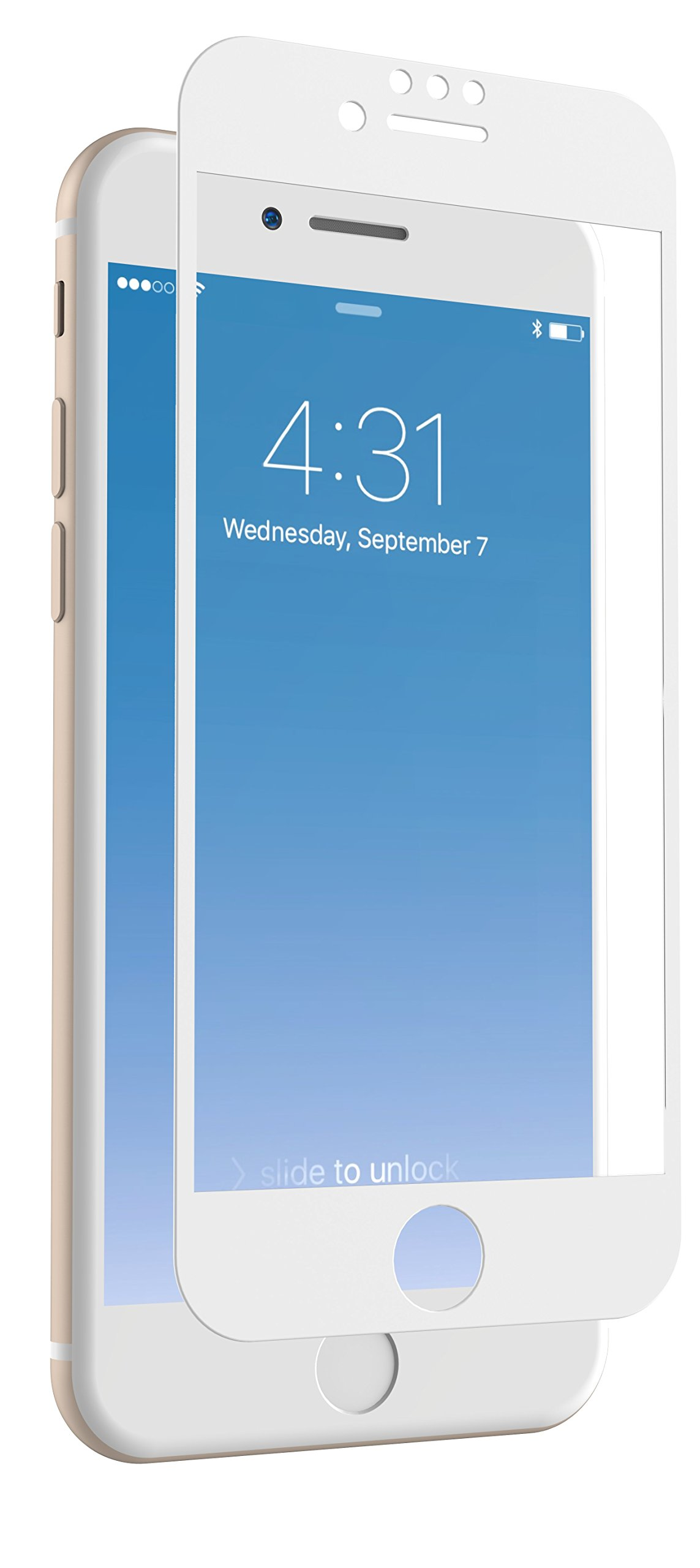 ZAGG InvisibleShield Glass + Luxe Screen Protector for Apple iPhone 8, iPhone 7, iPhone, 6s, iPhone 6 – Extreme Impact and Scratch Protection – White