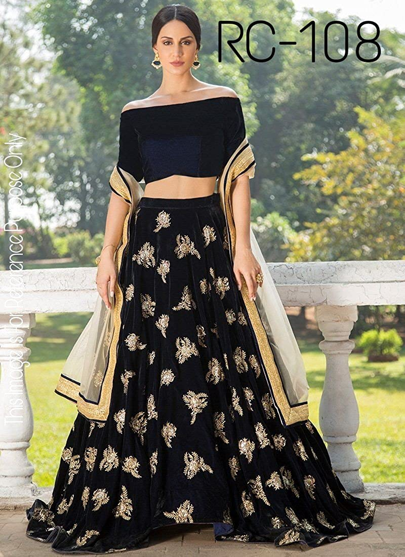 80f8abdc856c Amazon.com  Indian Pakistani Fashion Lehenga Choli for Women Ready to wear  Wedding Party Embroiderd Lengha Choli for Women (Black)  Clothing