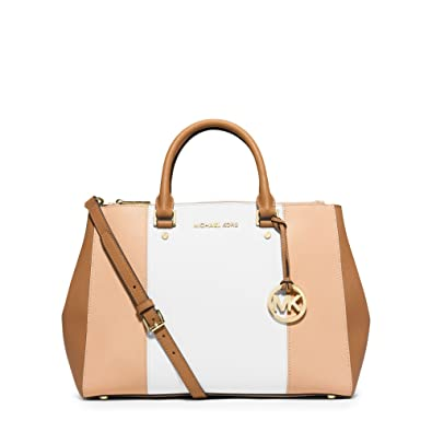 0ffa3bae1306 MICHAEL KORS Sutton Large Color-Block Saffiano Leather Satchel  NUDE/WHITE/PEANUT: Handbags: Amazon.com