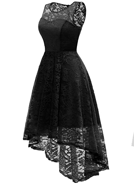 MuaDress Vestido Cóctel Vintage A-línea Hi-Lo Elegante Mujer Flor Encaje Vestidos De Fiesta: Amazon.es: Ropa y accesorios