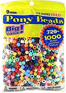 Darice 06121-2-021 Big Value Plastic, 9mm, 1000 Piece Opaque Color, Pony Beads, Multicolor, Package May Vary