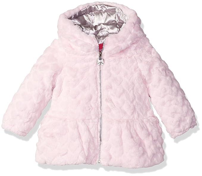 308fe24ba London Fog Baby Girls  Heart Embossed Faux Fur Fashion Coat  Amazon ...