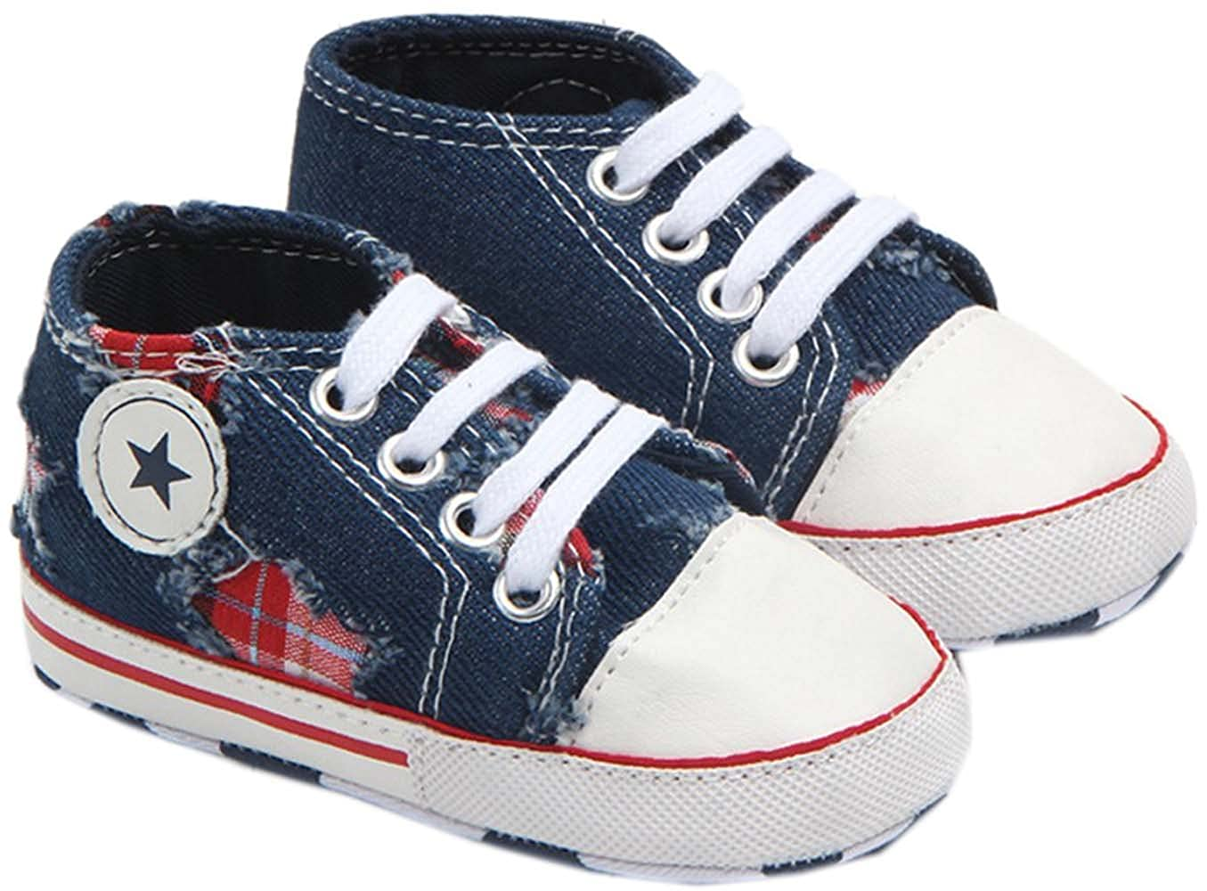 0-1 Year bettyhome Cotton Unisex Baby Newborn Navy Blue Ripped Jeans Canvas Soft Sole Infant Toddler Prewalker Sneakers