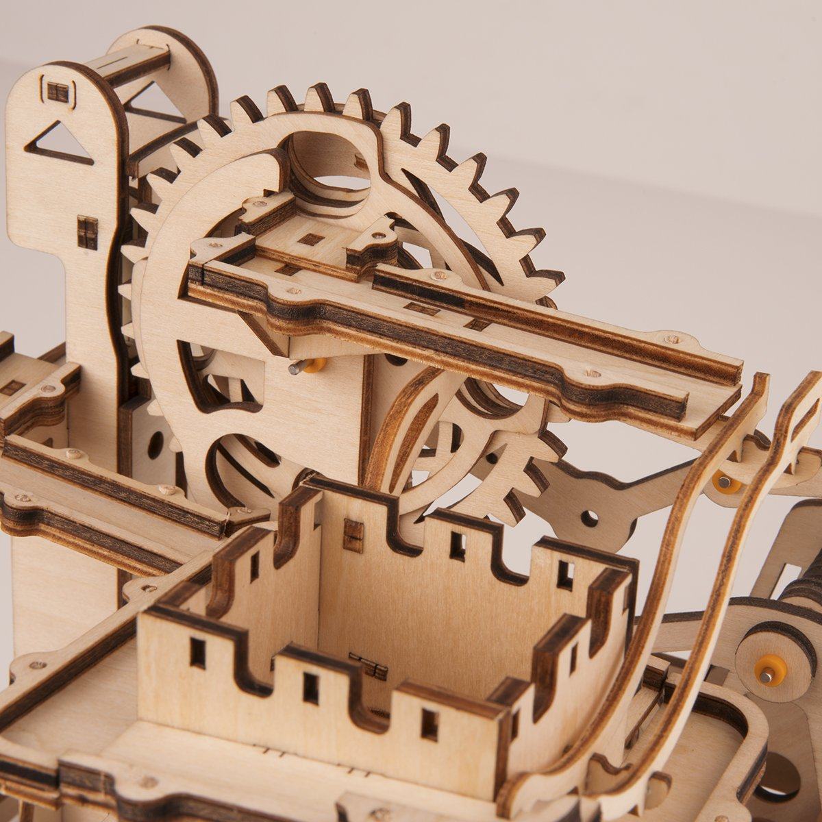 ROBOTIME 3D Wooden Puzzle Brain Teaser Toys Mechanical Gears Kit Unique Craft Kits Tower Coaster with Steel Balls Executive Desk Toys Best Gifts for Adults and Kids by ROBOTIME (Image #5)