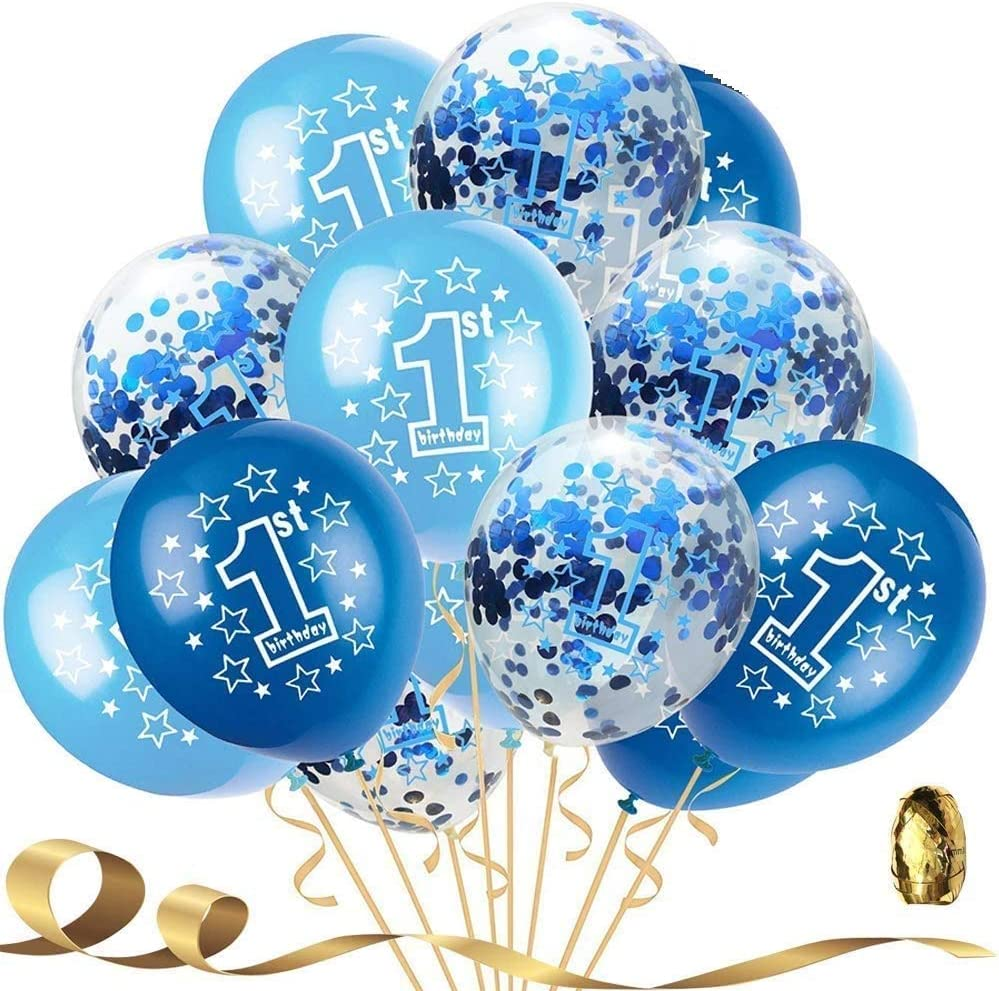 Pack of 15 1st Boy Happy Birthday Confetti Balloons,First Birthday Decorations 12 Inch Large Navy Blue Latex Helium Balloon Perfect for Baby Boy Party Supplies for Boy