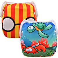 ALVABABY Swim Diaper Reuseable Washable Adjustable 2 Pack One Size