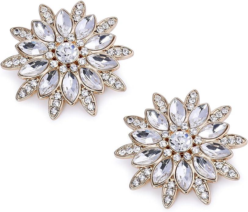 Elegantpark AS Femme Tournesol Design Crystal Fleur Pour Sac Chapeau Robe Chaussures Clips 2 Pcs