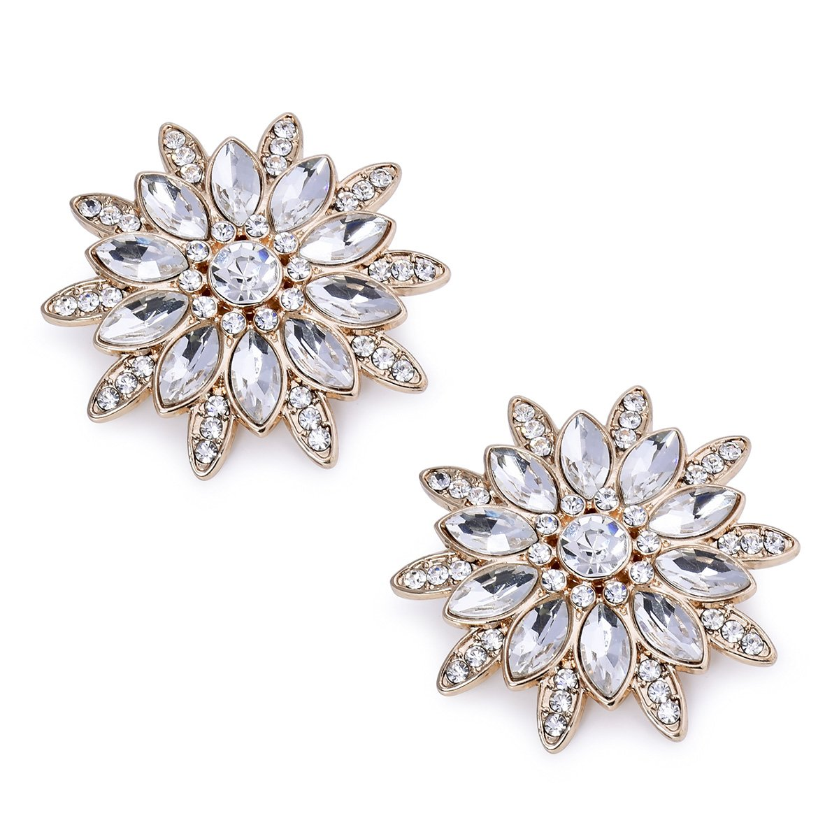ElegantPark AS Women Sunshine Design Wedding Party Prom Decoration Crystals Clutch Dress Hat Shoe Clips 2 Pcs Gold