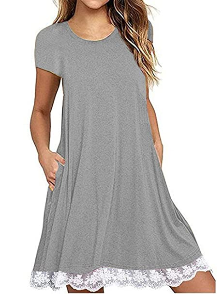 481d5e75b43c ChiChiLady Short Sleeve Comfy Tunic Tops Flare T-Shirts for Women Summer  Grey S