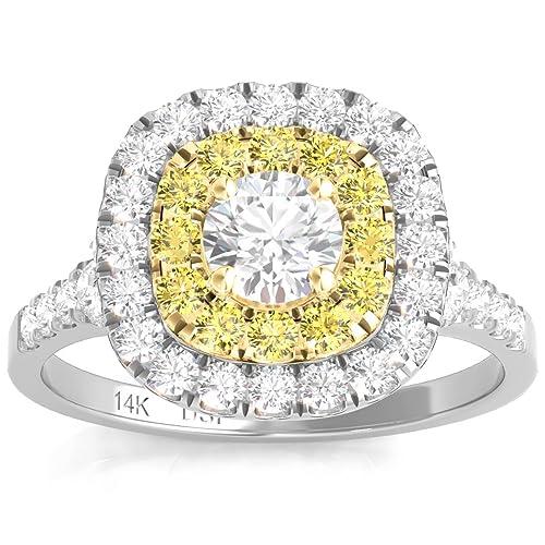 Diamond Studs Forever - Anillo de compromiso - Doble halo de ...